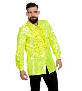 Gele Ruchesblouse Satijn Foute Neon Disco