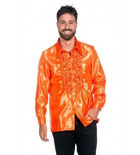 Oranje Ruchesblouse Satijn Foute Disco