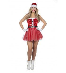 Kokette Pikante Vrolijk Kerstfeest Kerstvrouw Kostuum