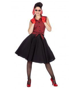 Rockabilly Rode Rizzo Vrouw Kostuum