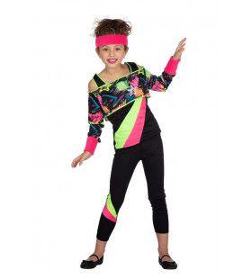 Spetterend Neon 80s Aerobics Meisje Kostuum