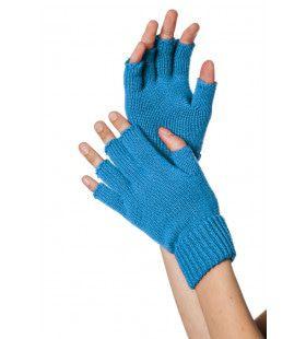 Blauw Gebreide Vingerloze Handschoenen
