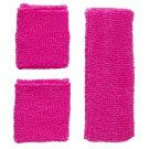 Athlethische 80s Zweetband Set, Neon Rose