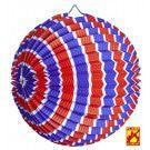 Feestelijke Papieren Bal Rood / Wit / Blauw Gestreept, Bv